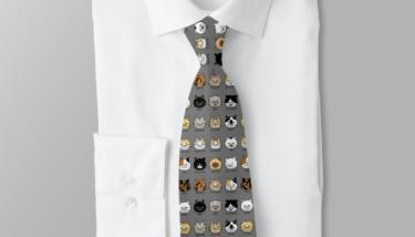 ブサ猫柄ネクタイ