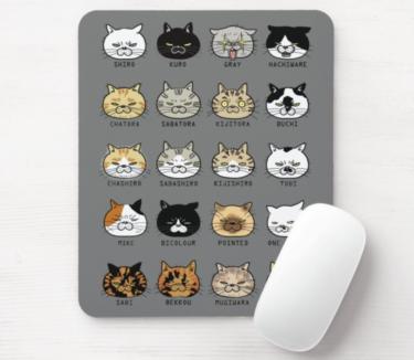 ブサ猫柄マウスパッド